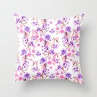 Garden Journal Purple Throw Pillow
