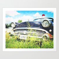 Cherries and Berries {Historic Cop Car} 1950's Buick  Art Print