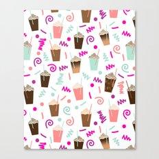 Coffee party retro swirl zig zag symbols 80s rad neon hot pink iced coffees latte milkshake food Canvas Print