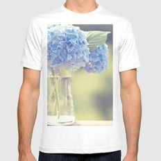 Blue Hydrangea SMALL White Mens Fitted Tee