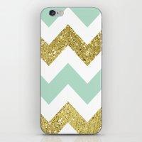 Mint Gold Glittery Chevr… iPhone & iPod Skin