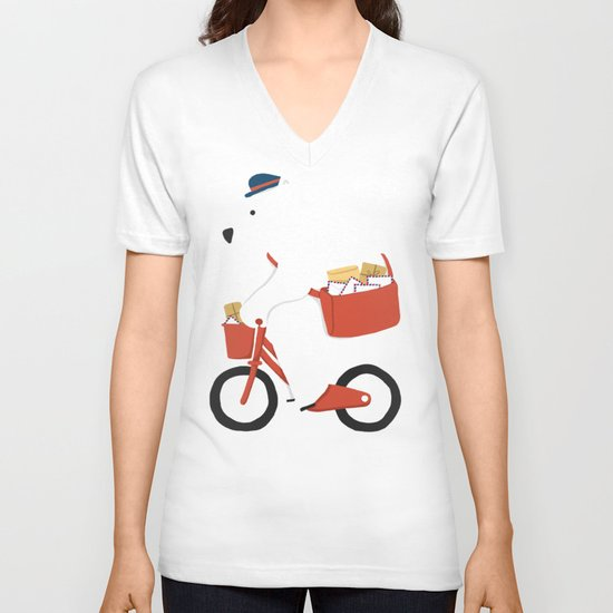Polar bear postal express  V-neck T-shirt