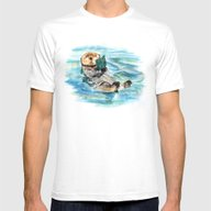 Otter Mens Fitted Tee White SMALL