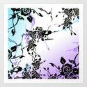Punkoco Floral Blues Art Print