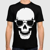 Skull in shades Mens Fitted Tee Black SMALL