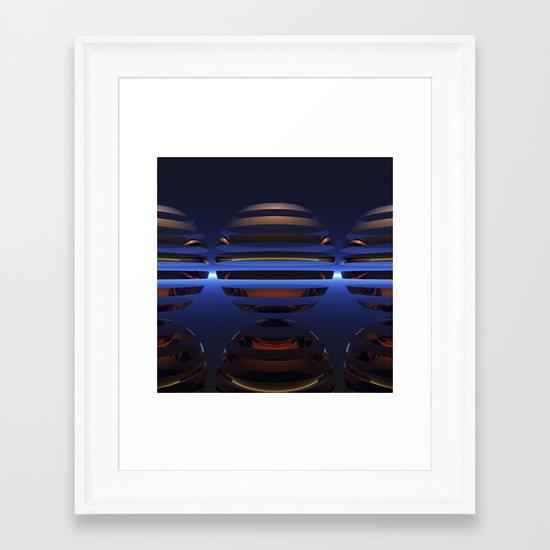 Split Spheres (Night) Framed Art Print