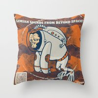 Space Ape - Simian Sounds from Beyond Space! Throw Pillow