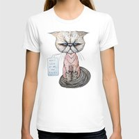 Kitty Got A Haircut Womens Fitted Tee White SMALL
