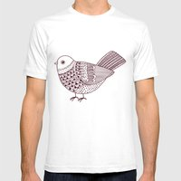 Retro Pigeon Mens Fitted Tee White SMALL