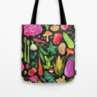 VEGGIES In Black Tote Bag