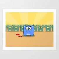 Angry Cats Art Print