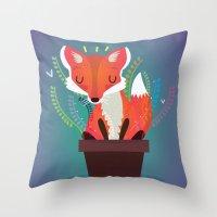 Fox in the pot Throw Pillow