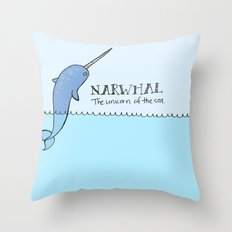 Narwhal (Unicorn of the Sea) Throw Pillow