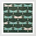 Dragonfly pattern v1 Art Print