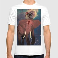 astronaut and elephant Mens Fitted Tee White SMALL