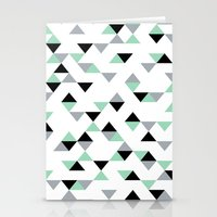 Triangles Mint Grey Stationery Cards