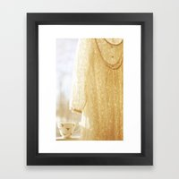 lace and rosebuds Framed Art Print