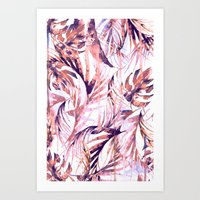 Coral Tropical Palms Art Print