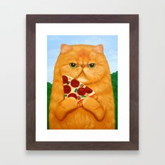 PIZZA FOR LUNCH Framed Art Print