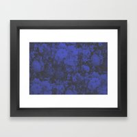 Blue Floral Halftone Pattern Framed Art Print