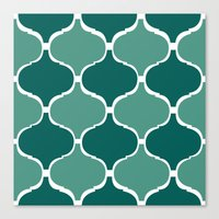Marrakech Pattern Dark Green Canvas Print