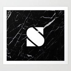 Black Marble - Alphabet S Art Print