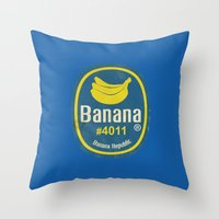 Banana Sticker On Blue Throw Pillow