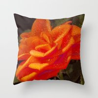 Rose and Leaves Throw Pillow