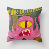 Throw Pillow featuring Pink Octopus From Outer … by Danvinci