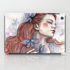 Girl with a butterfly II, watercolor artwork / illustration iPad Case