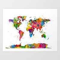 Map Of The World Map Wat… Art Print