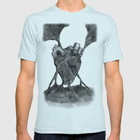Heart Mens Fitted Tee Light Blue SMALL