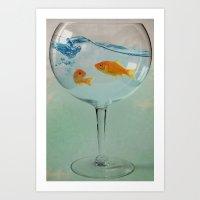 Goldfish glass Art Print