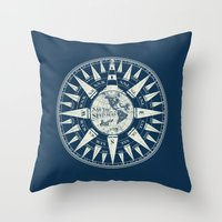 Sailors Compass Throw Pillow