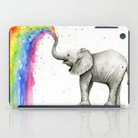 Baby Elephant Spraying Rainbow Whimsical Animals iPad Case