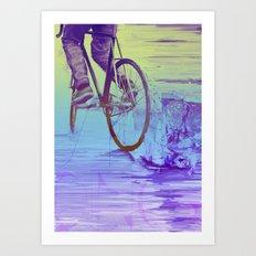 Skidding Bike Art Print