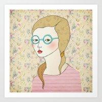 Las gafas redondas. Art Print