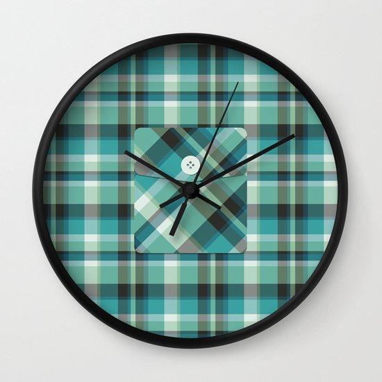 Plaid Pocket - Teal Blue/Green Wall Clock
