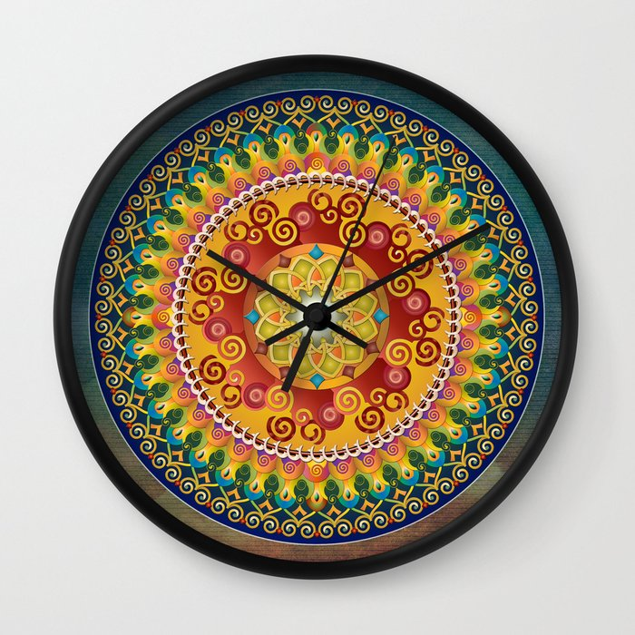 Mandala Epiphaneia Wall Clock by Bedros Awak
