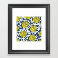 YELLOW ROSE SQUIGGLE Framed Art Print