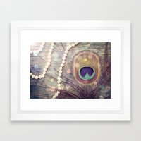 Feathers & Pearls Framed Art Print