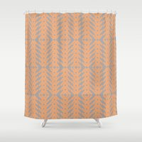 Peach And Gray Tribal Pa… Shower Curtain