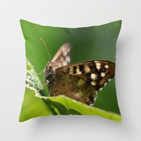 Speckled Wood Butterfly … Throw Pillow