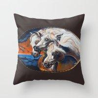 The Pharoah's Horses Throw Pillow
