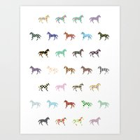 Colorful Horses Lantern Pattern  Art Print