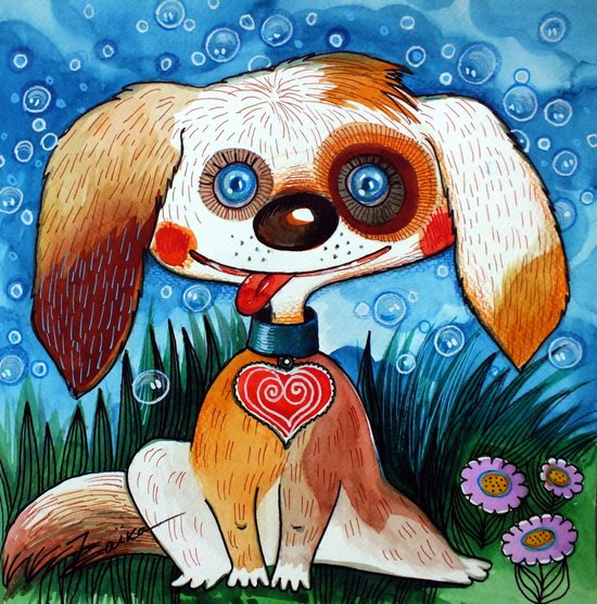 crazy dog Art Print