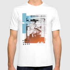 A.H. Collage White SMALL Mens Fitted Tee