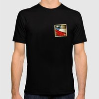 Chile grunge sticker flag Mens Fitted Tee Black SMALL