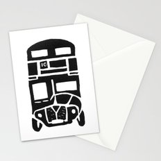 London bus linoprint Stationery Cards