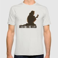 INTO THE WILD Mens Fitted Tee Silver SMALL